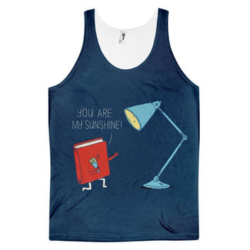 You Are My Sunshine Book Lamp Love & Light Dye Sublimation All Over Print 3D Full Print Cotton Polyester Unisex Novelty Blue & Red Tank Top
