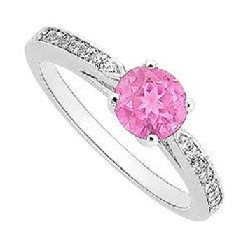Pink Sapphire and Diamond Engagement Ring : 14K White Gold - 0.40 CT TGW