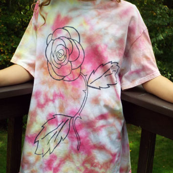 Kids Rose Shirt, Custom Tie Dye Rose TShirt, Kids Tie Dye Shirt, Girls Flower Shirt, Flower Child, Hippie Girls, Girls Gypsy Shirt