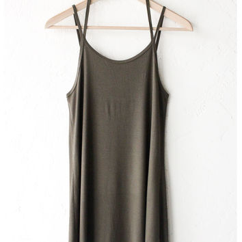 Ribbed Halter Dress - Olive