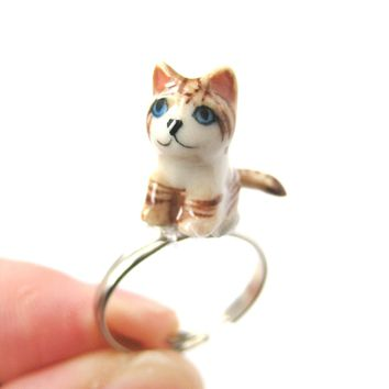 Porcelain Ceramic Tan and White Striped Kitty Cat Animal Adjustable Ring | Handmade