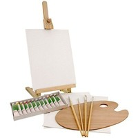 US Art Supply Wood Studio Table Easel & Paint Box Set with 12 Paint Colors, Canvas Panels, Brushes, Wood Palette (Acrylic Paint Kit)