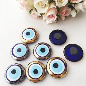 3 pcs evil eye magnet, gold evil eye charm, silver evil eye charm, glass evil eye magnet
