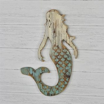 "Carved Wood Mermaid 26"" Sign"