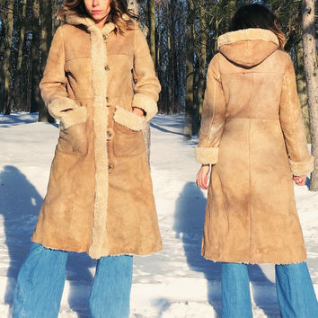 Vintage 1970's PENNY LANE Sheepskin Shearling Princess Hooded Maxi Coat || Size Small Medium || Size 4 to 6