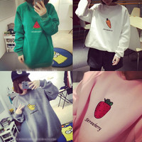 Students cartoon fruits printed fleece pullover