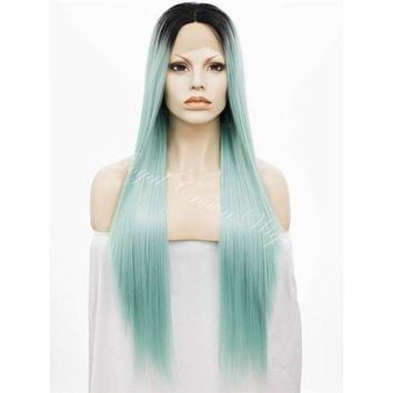 Dark Root Robin Egg Blue/Green Ombre Straight Synthetic Lace Front Wig