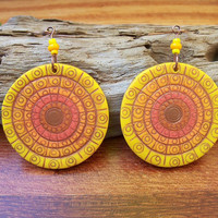 Summer Sun Polymer Clay Earrings, light weight dangle pendant earrings