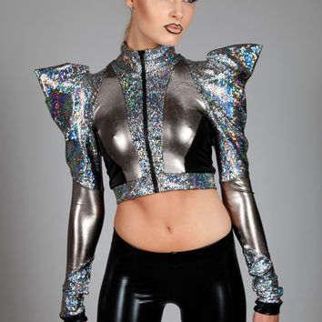 Holographic Bolero Jacket, Puffy Pointy Sleeves, Futuristic Stage Wear, Sci-Fi Clothing, Cropped Space Age Spandex Sweatshirt, by LENA QUIST