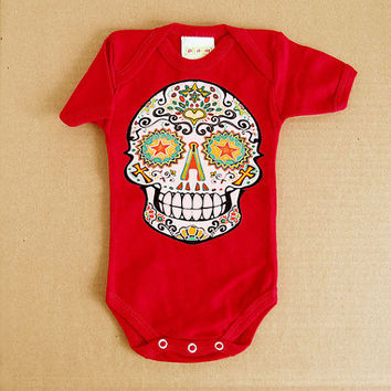 Baby Jumper Orange Traditional Mexican Sugar Skull Baby Clothes 3, 6 month Day of the Dead Bodysuit Creeper. Infant Girl Boy Toddler Skull