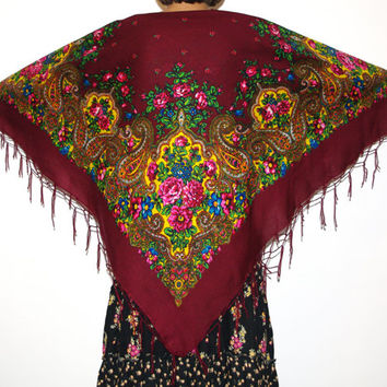 Huge shawl with fringes Pavlovo Posad Brown Maroon Vintage Russian Shawl Ukrainian Shawl Traditional Slavic floral ornaments Polish shawl