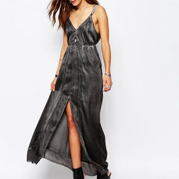 Religion Strappy Maxi Dress With V Neck Satin Feel And Lace Detail