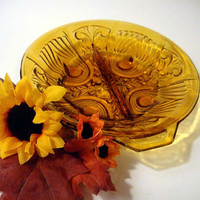 "Indiana Glass ""Killarney"" Amber Divided Relish Dish - Celtic Cross - Mid Century Pressed"