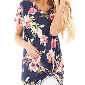 Casual Short Sleeve Floral Knot Blouse Tops and T-Shirts