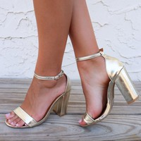 Run Away With Me Gold Single Strap Heels