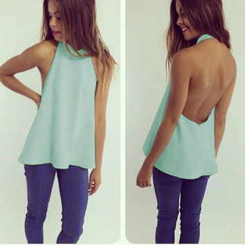 HOT LIGHT BLUE BACKLESS HOLLOW OUT TOP SHIRT