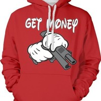 Get Money, Cartoon Hands Holding a Gun Two Tone Hooded Sweatshirt (Red, Medium)