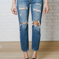 Blue Wash Distressed Boyfriend Jeans by Just Black