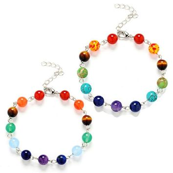 Natural Stone Beads Crystal# 7 Chakra Bracelet For Women # Braided Chain Bead# Spiritual Yoga Jewelry Bracelets#