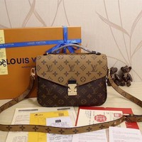 LV Louis Vuitton Trending Women Print Leather Buckle Satchel Shoulder Bag Handbag Crossbody I