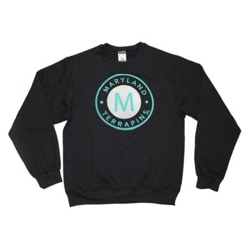 "Maryland Terrapins ""M"" Circle in Green (Black) / Crew Sweatshirt"