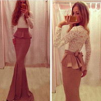 Bodycon Sexy Dresses 2016 Summer Style Lace Party Dresses Trumpet Patchwork Long Sleeve O Neck Maxi Dress Women Fashion Vestidos