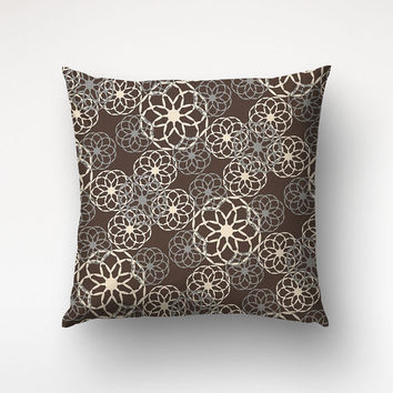Floral Pattern Art Pillow, Graphic Pattern, Floral Decor, Printed Cover