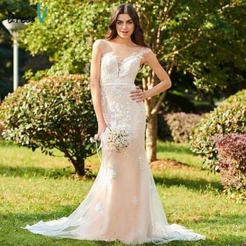 Dressv Long Wedding Dress Cap Sleeves Court Train Mermaid Appliques Lace Tulle Custom Church Garden Elegant Wedding Dress