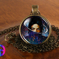 Michael Jackson Xscape Handmade Necklace Jewelry Glass Photo Fan Art Gift (1)