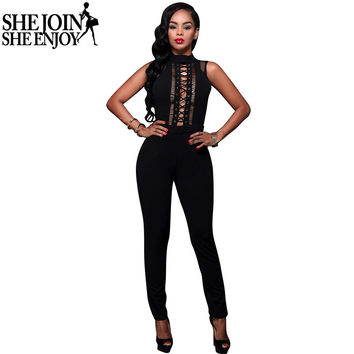 ShejoinSheenjoy Rompers Womens Jumpsuit 2016 Summer Women Sleeveless Jumpsuit Long Pants Hollow Out Sexy Bodycon Jumpsuits
