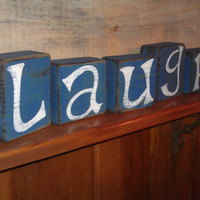 Laugh Primitive Block Set Distressed Hand by RusticCharmDesign