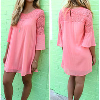 Sheer Mesh Lace Bell Sleeves Loose Mini Dress