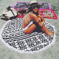 150cm Beach Mat Swimsuit Cover Ups Boho Mandala Tribal Bohemian Cover-up Sexy Shawl Lie On Big Size