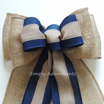 Rustic Navy Burlap Wedding Bow Navy Burlap Wedding Ceremony decoration Shabby Chic Burlap Navy Blue Wedding Aisle Bow Burlap Chair bow