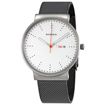 Skagen Ancher White Sandblasted Titanium Mesh Mens Watch SKW6321