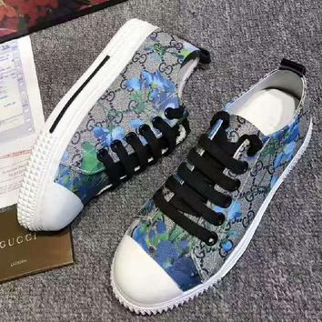 GUCCI Fashion Flats Sneakers Sport Shoes Print Blue flower