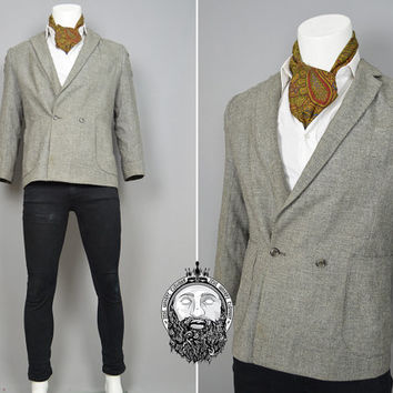 Vintage Mod Grey Tweed Blazer Mens Suit Jacket Sport Coat Country Gent Patch Pockets Skinny Lapels Double Breasted Hunting Jacket 70s 80s