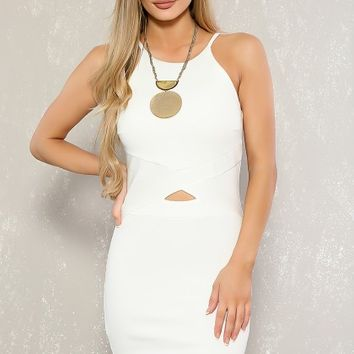 Sexy White Sleeveless Midriff Cut-Out Bodycon Dress