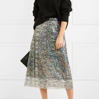 Christopher Kane - Metallic lace midi skirt