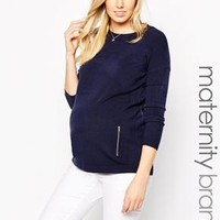 New Look Maternity | New Look Maternity Double Zip Sweater at ASOS