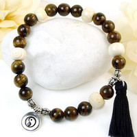 Mens Yin Yang Bracelet, Yoga Tai Chi Bracelet, Brown Tigers Eye Stretch Bracelet, Mens Jewelry Boho, Protective Eye Bone Beads, Large Unisex