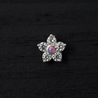 CZ diamond gems flower (Purple opal center) push in 16gauge bio flexible labret / helix / cartilage / tragus piercing