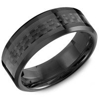 Black Carbon Fiber Ceramic 8mm Wedding Band Steven Singer Jewelers