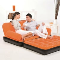 Orange Inflatable Indoor/Outdoor Multi Purpose Sofa Couch Bed Lounge With Air Pump