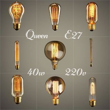 edison bulb bombillas retro lamp incandescent ampoule vintage E27 40w DIY edison christmas pendant light bulb holiday decoration