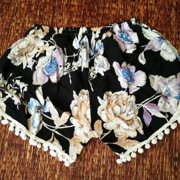 Cute colorful floral Boho pom pom Shorts comfy fabric Cute pattern festival Clothing Rayon  Summer holiday Clothing Beach Women chic Black