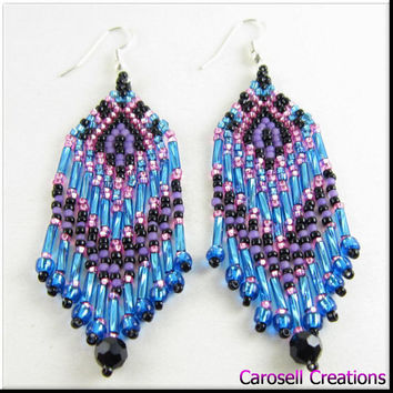 Native American Style Seed Bead Earrings Beadwork in Shiny Teal, Purple and Pink