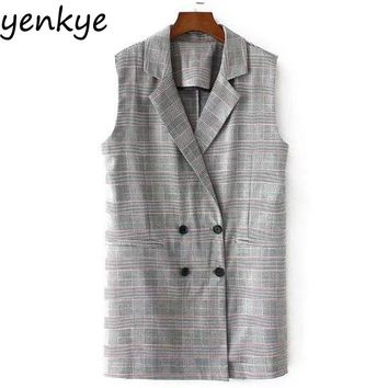 Autumn Women Double-breasted Plaid Blazer Vest Turn-down Collar Sleeveless Lady Office Jacket
