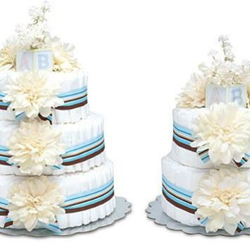 Bloomers Cream Dahlias with Blue Stripes Baby Diaper Cake