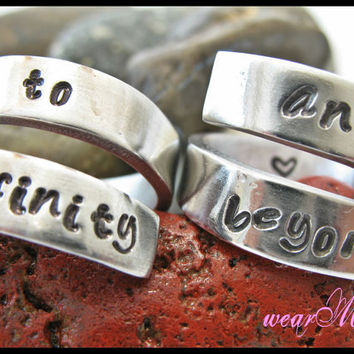Personalized Couple of ringsto infinity and beyond by keepWEARME